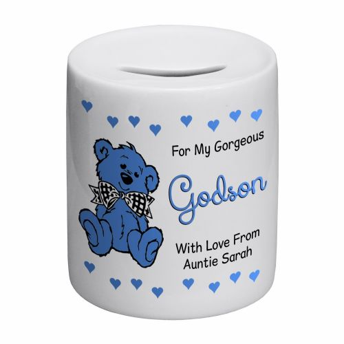 Personalised Godson Novelty Ceramic Money Box
